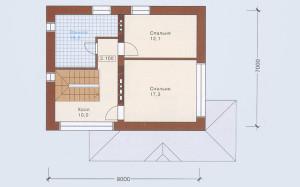 Проект дома 95,5 м.кв. с мансардой