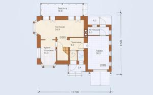 Проект дома 116,1 м.кв. с гаражом