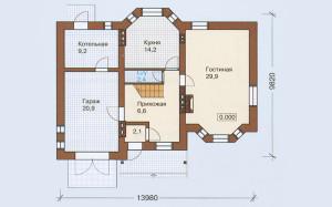 Проект дома 139,7 м.кв. с мансардой и гаражом
