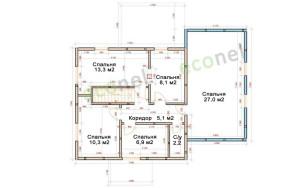 Проект дома 148,8 м.кв. (гараж)