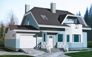 Проект дома 154,4 м.кв. с мансардой и гаражом