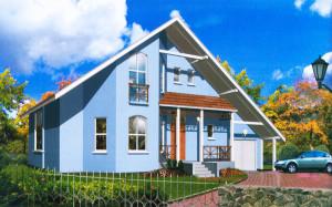 Проект дома 189,0 м.кв. с мансардой и гаражом