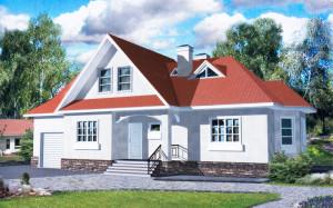 Проект дома 191,1 м.кв. с мансардой и гаражом