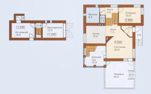 Проект дома 198,9 м.кв. с мансардой